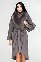 Пальто женскоезимнее из пальтовой ткани 80%-Шерсть съемный воротник из натурального песца