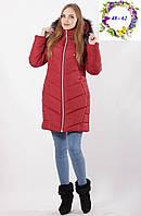 Зимняя куртка с опушкой на капюшоне 48 - 62 рр марсала