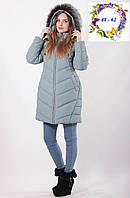 Зимняя куртка с опушкой на капюшоне  48 - 62 рр олива