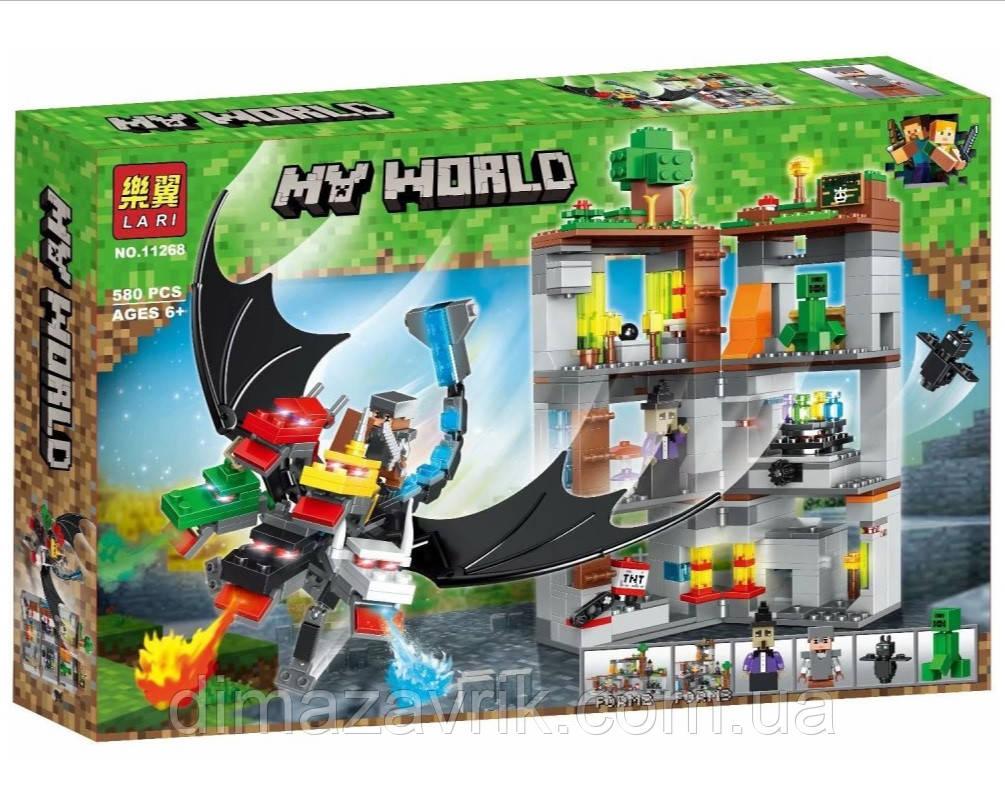 """Конструктор Bela 11268 (Аналог Lego Minecraft) """"Пятиглавый дракон"""" 580 деталей"""