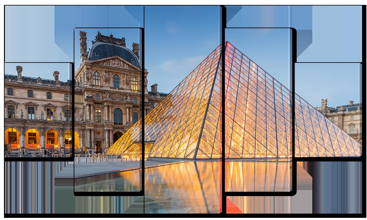 Модульная картина Interno Эко кожа Музей в Париже, Лувр  123х69см (A4542M)