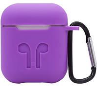 Силиконовый противоударный чехол - Airpods Apple. Фиолетовый