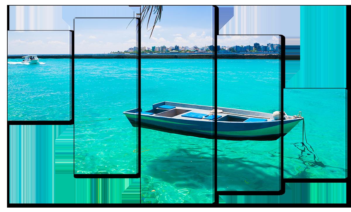 Модульная картина Interno Эко кожа Мальдивские Острова 158х90см (A4550XL)