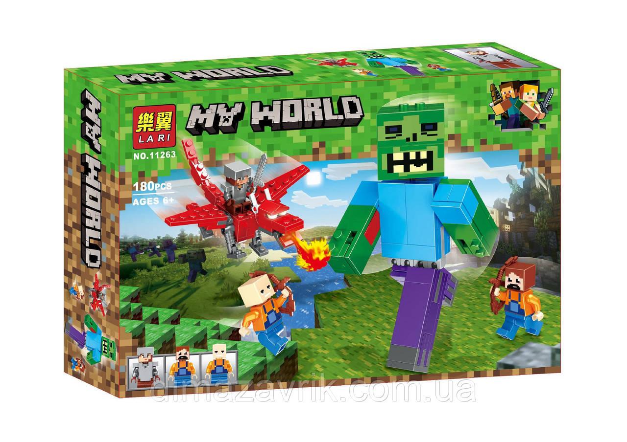 """Конструктор Bela 11263 (Аналог Lego Minecraft) """"Битва с зомби великаном"""" 180 деталей"""