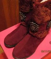 Сапоги угги теплые отличная модель! 37.5р мех зимние замша бордовые вишневые отличная легкая теплая модель, фото 1