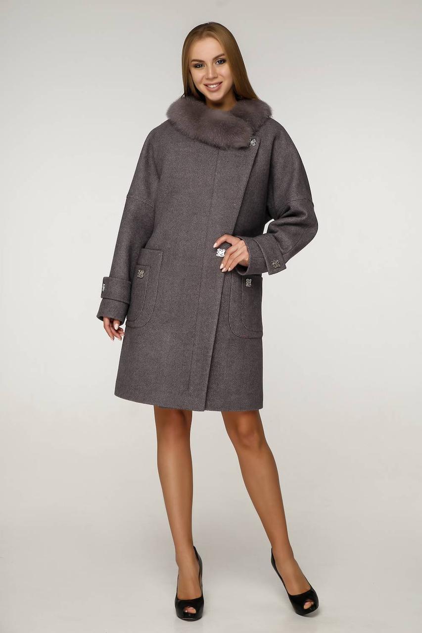 Роскошное зимнее женское пальто с мехом П-1219 н/м Шерсть пальтовая W7-18145 Тон 24