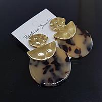Серьги женские Africa Fashion Jewelry капуччино с черным 35mm (арт. ear-afr-capucc-black)