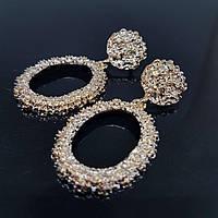 Серьги женские овальные в стиле Zara желтое золото (Vit-oval-yel-gol)