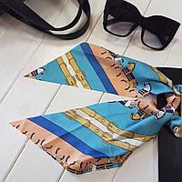 Украшение-резинка для волос с платком Hermes голубой (Vtnm-Hrms-blue)