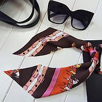 Украшение-резинка для волос с платком Hermes оранжевый (Vtnm-Hrms-oran)
