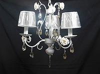 Люстра в стиле шебби-шик 3 плафона, коричневый хрусталь