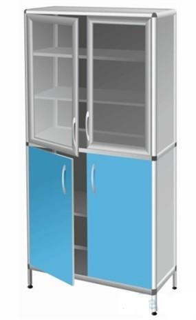 Шкаф-витрина двухстворчатый с 4 дверками, 4 полками Праймед
