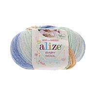 Alize Baby Wool Batik №6539 молочно-желто-сине-голубо-оранжевый