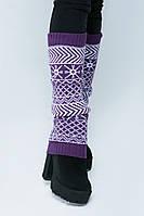 SEWEL Гетры GW399 (40 см, фиолетовый, ярко-белый, 60% акрил/ 30% шерсть/ 10% эластан)