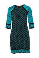 SEWEL Платье PW328 (46-48, петроль, черный, 60% акрил/ 30% шерсть/ 10% эластан)