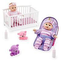You and Me Набор пупсов с кроваткой и переноской Mini Twins 8 inch Deluxe Doll Set
