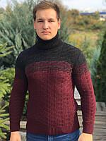 Мужской теплый свитер под горло, размеры: M, L, XL, цвета - электрик, джинс, бордовый