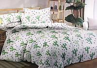 Сатиновое постельное белье двуспальное евро 200*220 (12859) хлопок 100% KRISPOL Украина