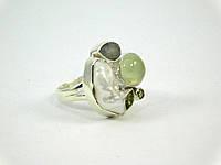Кольцо Жемчуг + пренит серебро Изысканная кольцо из натурального камня, красивые украшения