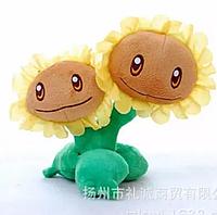 Мягкая плюшевая игрушка Растения против зомби Двойной подсолнух из игры Plants vs Zombies