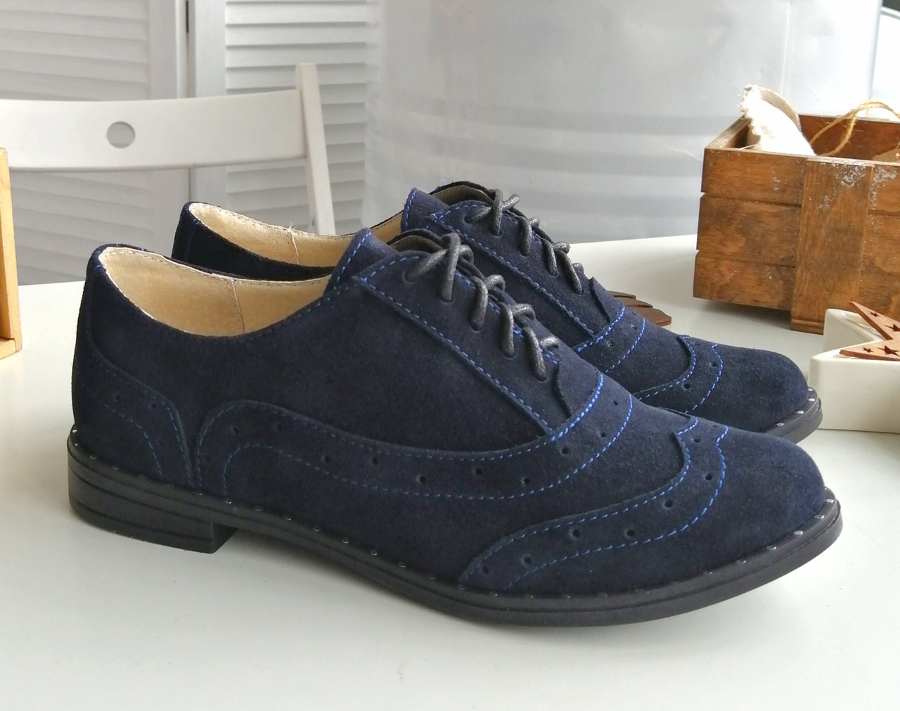 Сині стильні замшеві туфлі