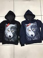 Батник для мальчика с начесом на 8-15 лет синего, черного цвета волк с капюшоном(принт светится) оптом