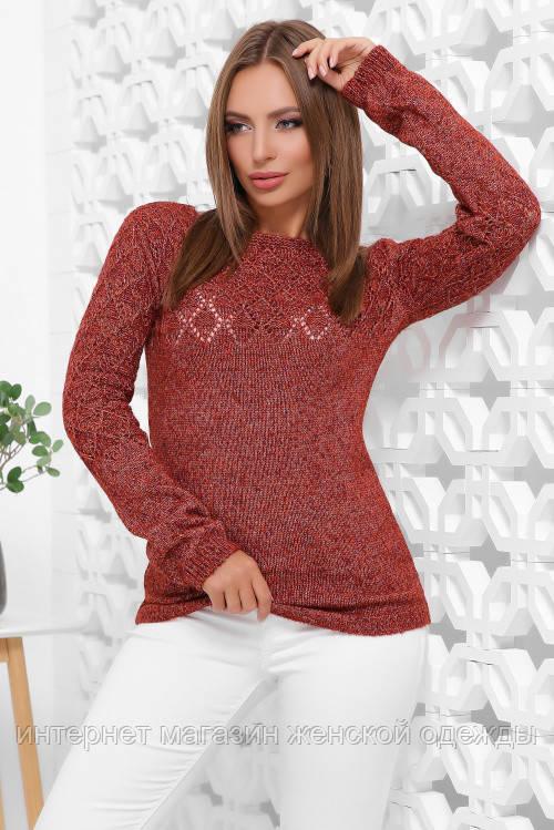 Базовый женский свитер теплый вязаный терракот меланж