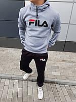 Капюшонка+штаны трехнить на флисе мужской костюм Fila серый с черным (реплика) - S, L