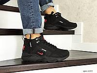 Зимние мужские кроссовки Nike Air Huarache, артикул 8539 черные с красным