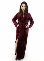Махровый халат длинный на запах с капюшоном бордовый, фото 1