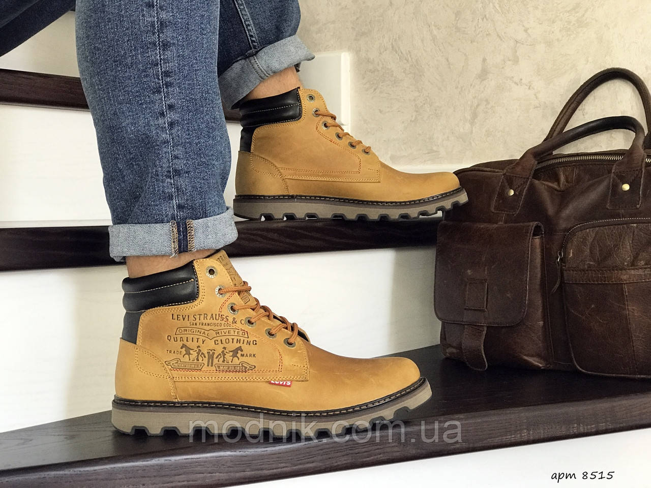 Мужские ботинки Levis (горчичные) ЗИМА