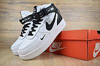 Мужские зимние кроссовки Nike Air Force 1 Mid 07 LV8 Utility (бело-черные)