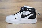 Мужские зимние кроссовки Nike Air Force 1 Mid 07 LV8 Utility (бело-черные), фото 2