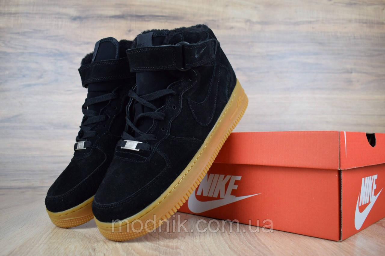Мужские зимние кроссовки Nike Air Force (черно-коричневые)
