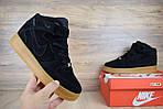 Мужские зимние кроссовки Nike Air Force (черно-коричневые), фото 6