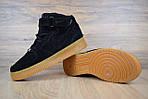 Мужские зимние кроссовки Nike Air Force (черно-коричневые), фото 9
