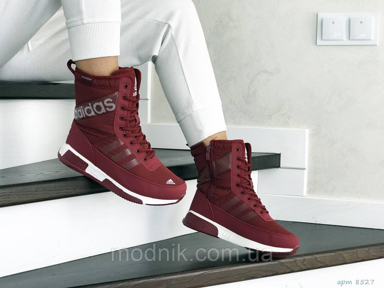 Женские зимние дутики Adidas (бордовые)