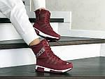 Женские зимние дутики Adidas (бордовые), фото 3