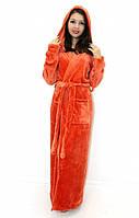 Махровый халат длинный на запах с капюшоном оранжевый, фото 1