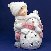 Светящаяся фигурка Мальчик и Снеговик, магнезия, 28*22*40,5 см (920142)
