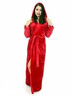 Махровый халат длинный на запах с капюшоном красный, фото 1