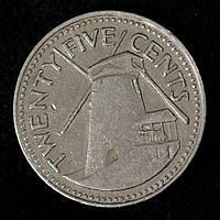 Монета Барбадоса 25 центов 1973 г.