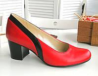 Червоні шкіряні туфлі на підборах, фото 1