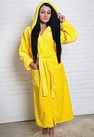 Махровый халат длинный на запах с капюшоном желтый, фото 1