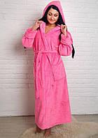 Махровый халат длинный на запах с капюшоном розовый, фото 1