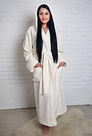 Махровый халат длинный на запах с капюшоном белый, фото 1