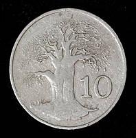 Монета Зимбабве 10 центов 1980 г. Баобаб