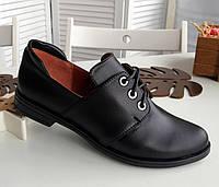 Кожаные черные туфли на шнурках, фото 1