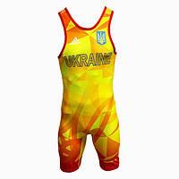 Трико для вольной борьбы Adidas с аккредитацией UWW, желто-красное