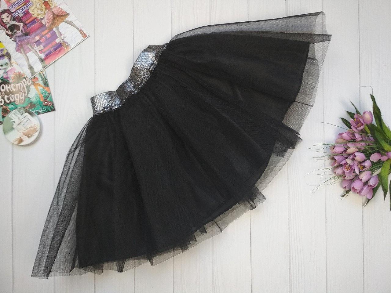 Фатиновая юбка на девочку 3-9 лет черный